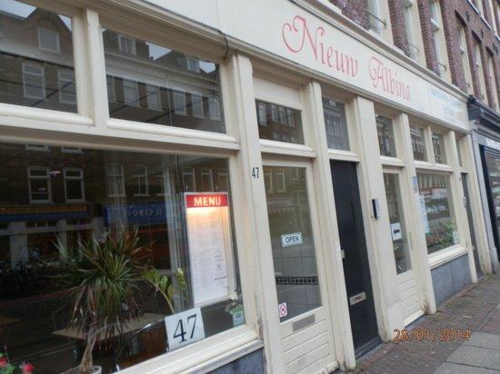 Large windows of Nieuw Albina restaurant.