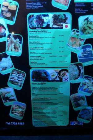 Club Sushi from Tokyo to Seoul: Menu Board