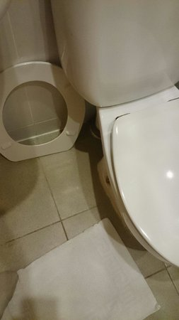 Jubilee Hotel: Toilet seat was like this when I arrived. I put it back on and when I came I'm the 2nd night it