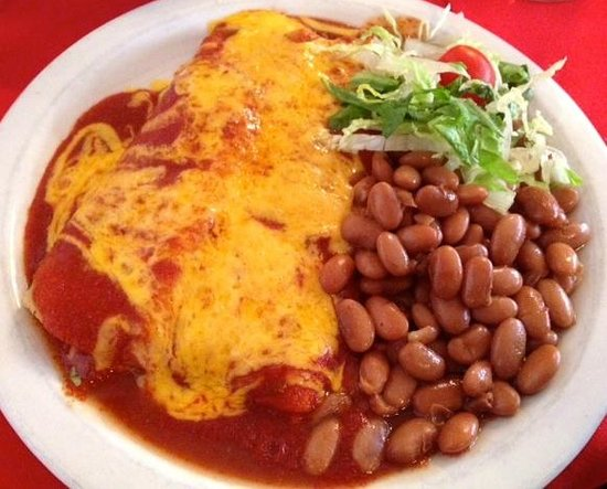 Rancho de Chimayo Restaurante : Chicken Enchiladas with Red Chile and Pinto Beans (Lunch Menu)