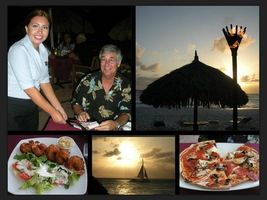 Matthew's Beachside Restaurant : Our waitress, sunset views and dinner