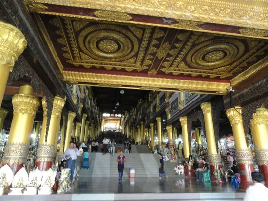Shwedagon Pagoda: The big entrence, for Myanmar people but our guide took us here. Really beautiful.