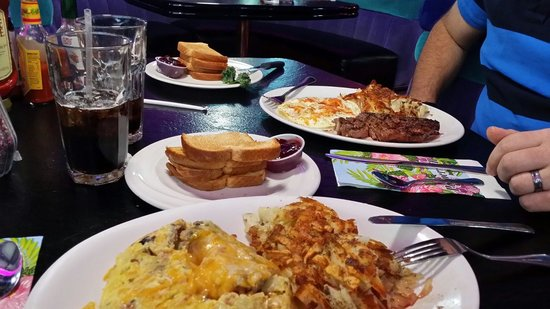 The Peppermill Restaurant & Fireside Lounge : He had steak and eggs.  I had the biggest omelet I've ever seen!  Both were excellent.