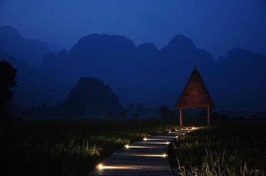 Evening at the end of the bridge @ Vieng Tara Villa
