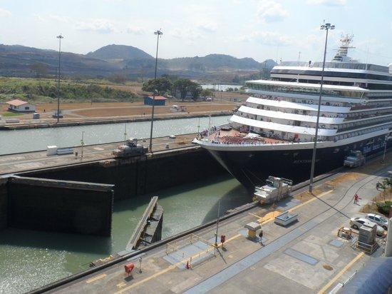 Miraflores Visitor Center: Cruise ship in Miraflores Lock