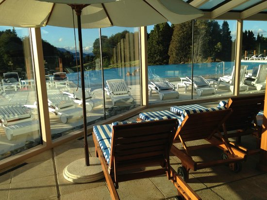Llao Llao Hotel and Resort, Golf-Spa : Looking out through pool area to mountains beyond