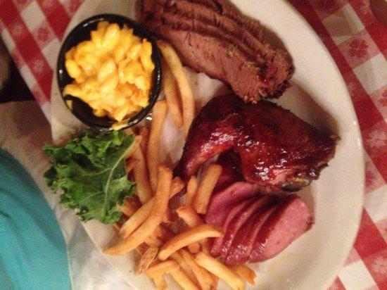 Bennett's Pit Bar-B-Que: Texan Sampler -the cornbread, it didn't last long enough!
