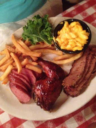 Bennett's Pit Bar-B-Que: Texan Sampler -the cornbread, it didn't last long enough!