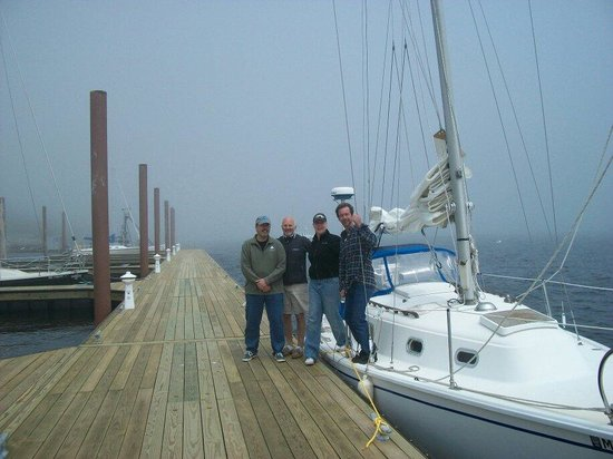 Falmouth, เมน: Foggy sail to Harpswell Maine