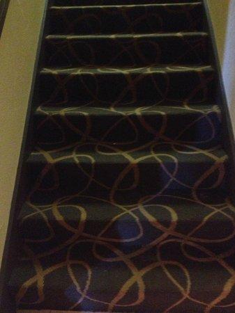 Days Inn & Suites Stevens Point: Stairway carpets needed vacuuming