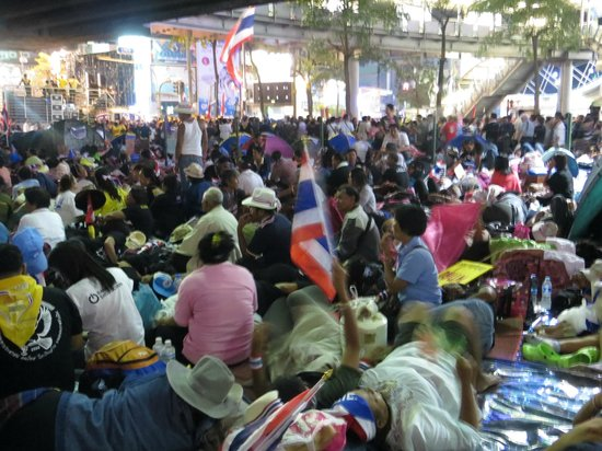 Lub d Bangkok - Siam Square: Protests outside of Lub D