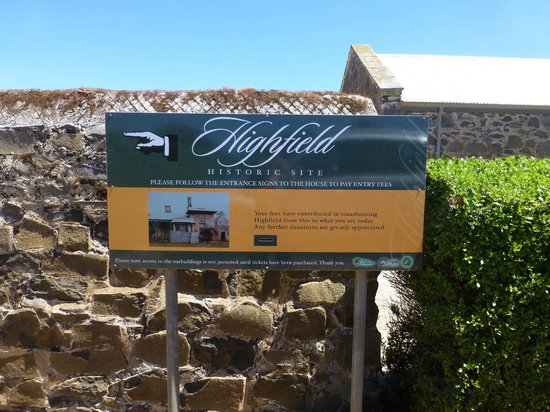 Highfield Historic Site: sign