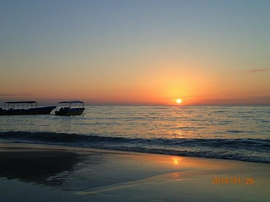 Sunset on the beach of Island Pearl