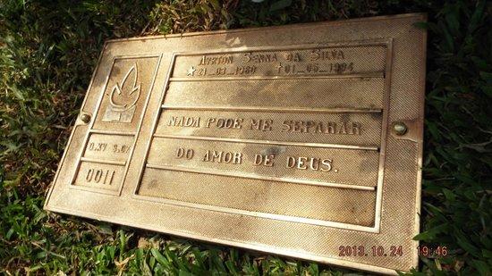 Senna's Grave Morumbi Cemetery: Ayrton Senna's plaque