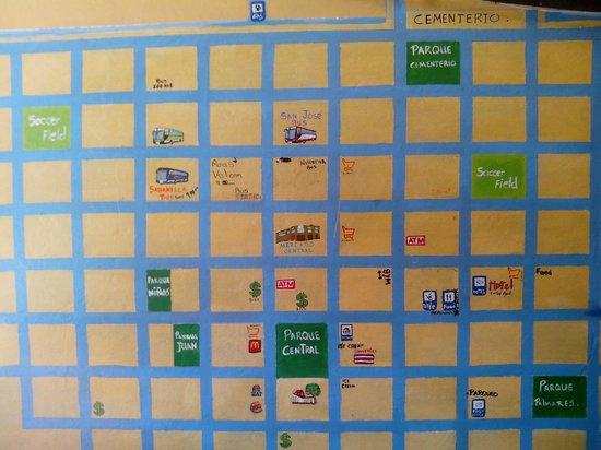 Hotel Cortez Azul : mapa de alajuela (en la recepción del hotel)