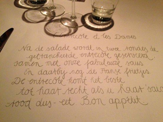 L'Entrecote et les Dames: The menu