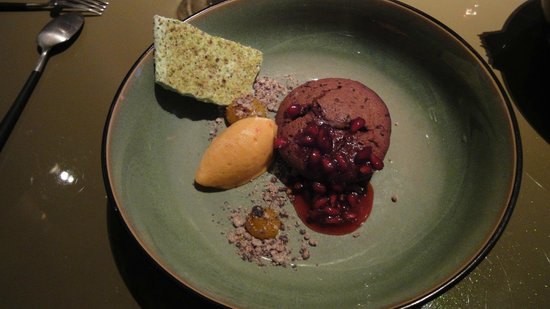 Beluga: Hot chocolate / rosemary / kaki / pomegranate