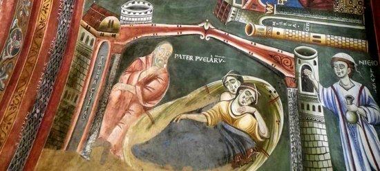 Novalesa, Italy: particolare della vita di San Nicola: il padre delle fanciulle nella città di Patera medita