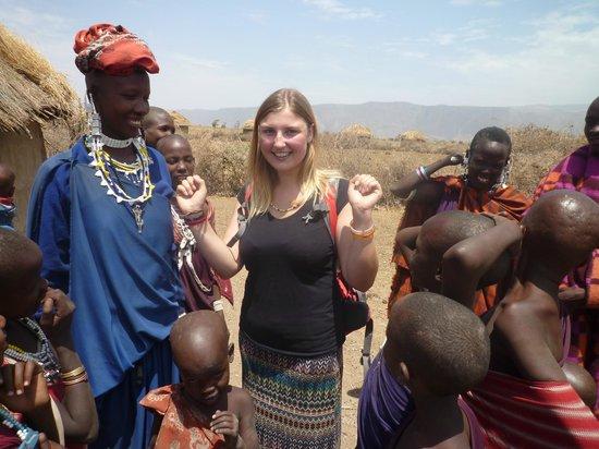 Ol Mesera Tented Camp: Trying on some Maasai jewellery