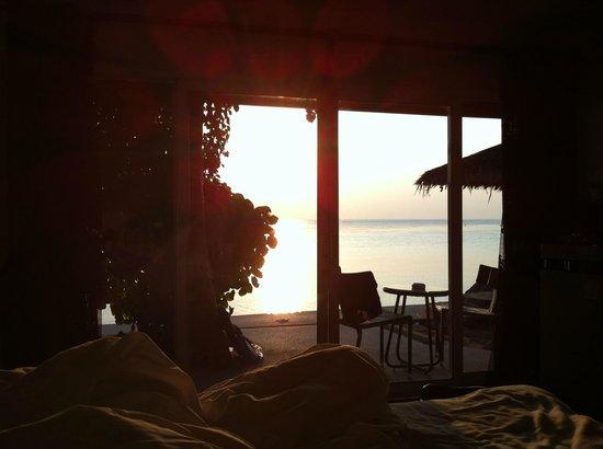 THE BAY Resort & Restaurant: Sunset from Beachfront Terrace room...