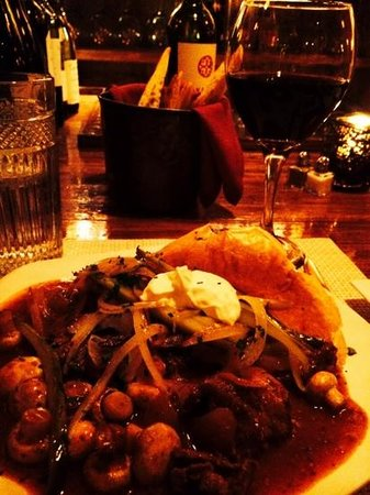 Silver Fork: Beef  Stroganoff and a glass of Cabernet