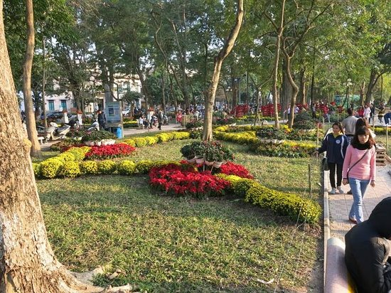 Lake of the Restored Sword (Hoan Kiem Lake) : Flower gardens beside the Hoan Kiem Lake, prior to Tet Celebrations.