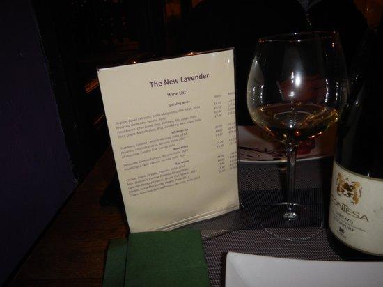 The Lavender Restaurant: wine list