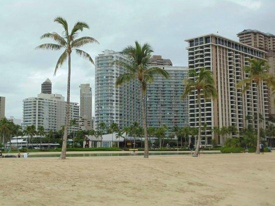 Waikiki Marina Resort at the Ilikai: The blue one in the middle.