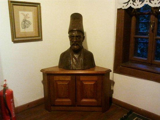 Sufi Music Concert & Whirling Dervishes Ceremony : Bronze bust of Sufi master Mevlana C. Rumi
