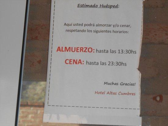 Hotel Altas Cumbres: Horario del comedor y quincho