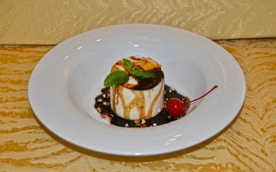Casa Colombo : Buffalo Curd Panacotta with Coffee, Caramel, and Cashews