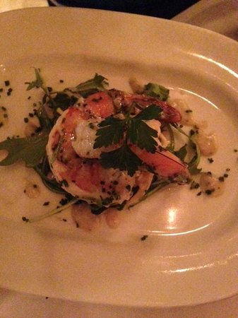 Hamersley's Bistro : Marinated Shrimp with Celery Root and Apple Salad, Mustard Greens and Remoulade