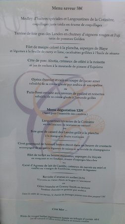 Restaurant Christopher Coutanceau : Menu