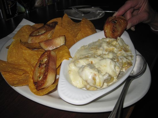 Mustang Tavern : DELICIOUS ARTICHOKE DIP WITH CHIPS AND BAGUETTES