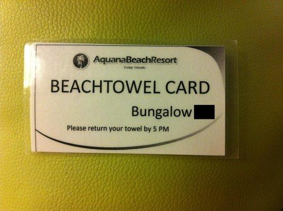 Aquana Beach Resort: The beachtowel card.
