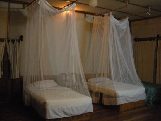 Shwe Inn Tha Floating Resort : your  bed with mosquito net...