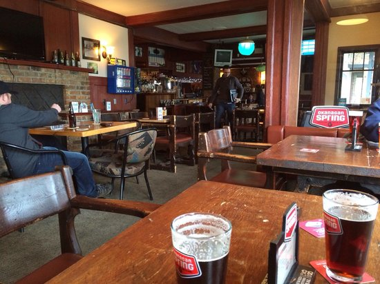 Crown & Anchor: Inside by the wood stove