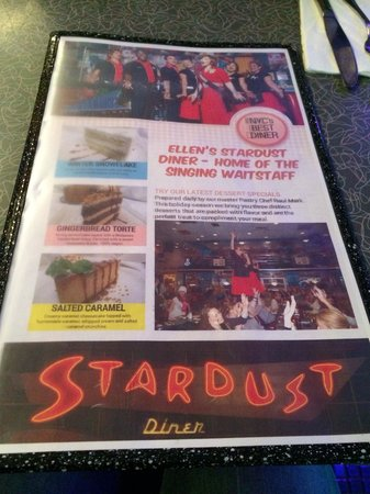 Ellen's Stardust Diner : Stardust diner menu home of the singing waiters!