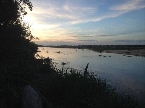 Selous Great Water Lodge: Sunset over the river
