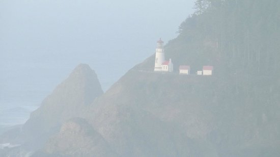 Heceta Head Lighthouse: Heceta Lighthouse from the seal caves