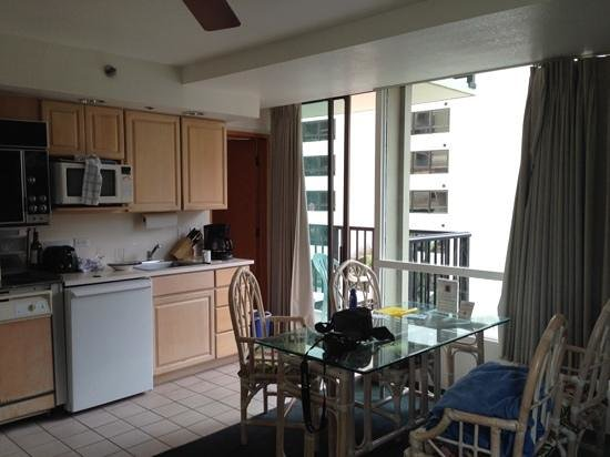 The Imperial Hawaii Resort at Waikiki: dining and kitchen side of the room with balcony