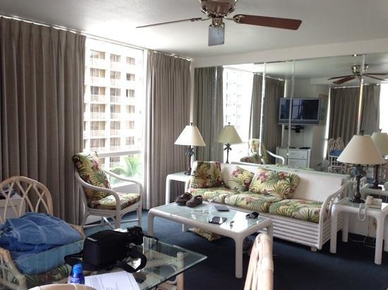 The Imperial Hawaii Resort at Waikiki: living room side of room with view that way