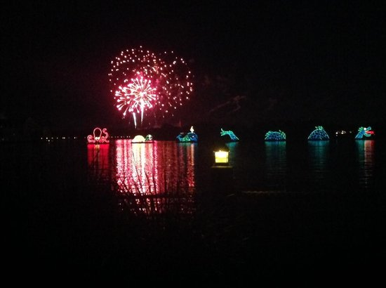 Disney's Polynesian Village Resort: Fireworks from Magic Kingdom, as seen from inside room 1406