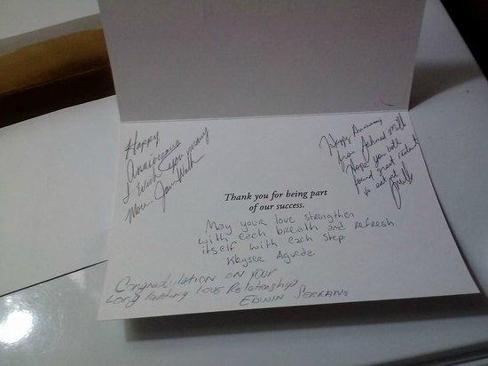 Durham Marriott City Center: Anniversary card from staff, so sweet