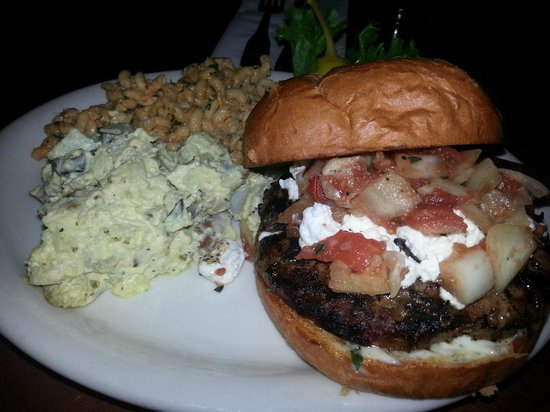Moon Time: The Lamb Burger with a side of potato salad and the macaroni concoction!