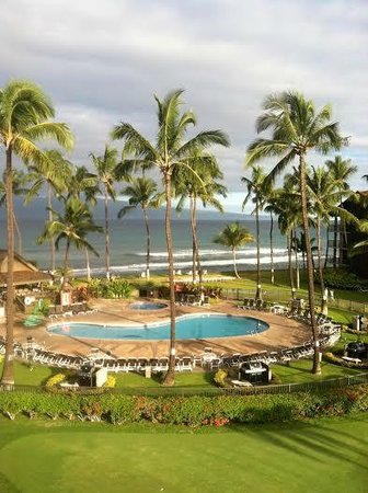 Aston at Papakea Resort: View of the pool area, oceanfront and Molokai from the balcony.