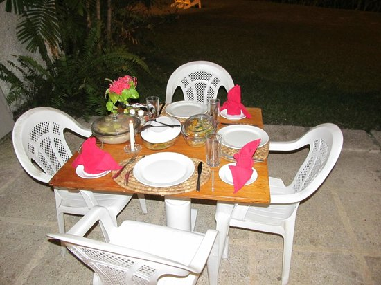 Goblin Hill Villas at San San : Meal prepared by Marcia served on the patio