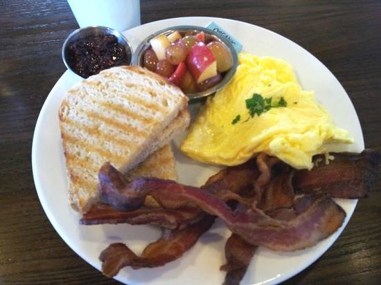 The Grove Cafe & Market : Classic scrambled with bacon, toast, fruit and yummy raspberry chili jam.