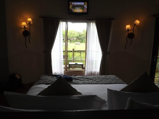Mara River Safari Lodge: The view from the bed overlooking the savannah with a rhino