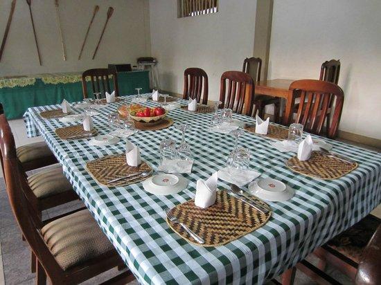 Banana Village: The table prepared for dinner